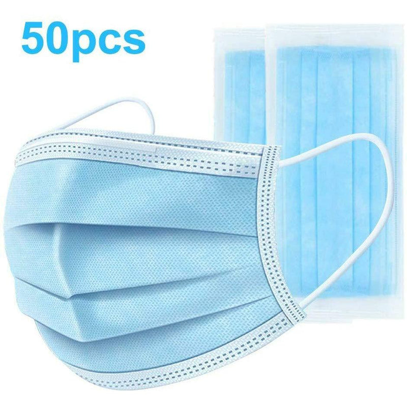 Disposable 3-Layer Earloop Non-Woven Face Mask - 50 pc Travel Accessories Mila Wholesale