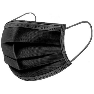 Black Disposable 3-Layer Earloop Non-Woven Face Mask - 50 pc Travel Accessories Mila Wholesale
