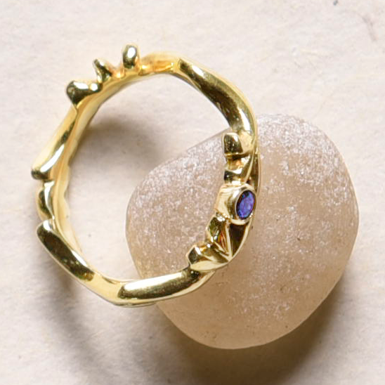 18k Gold Lotus Ring with 22k Bezel Set Sapphire