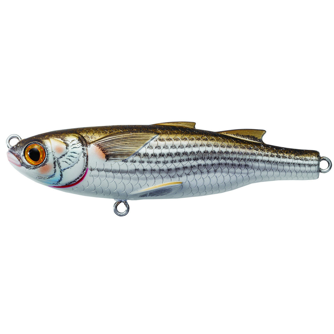 "LIVETARGET Lures Mullet Twitchbait Saltwater, 4 1/2"", #2 Hook, 0""-6"" Depth Natural/Matte"