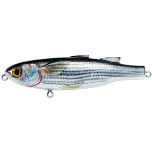 "LiveTarget Lures Mullet Walking Bait Saltwater, 4 3/4"", #1 Hook, Topwater Depth, Silver/Black"