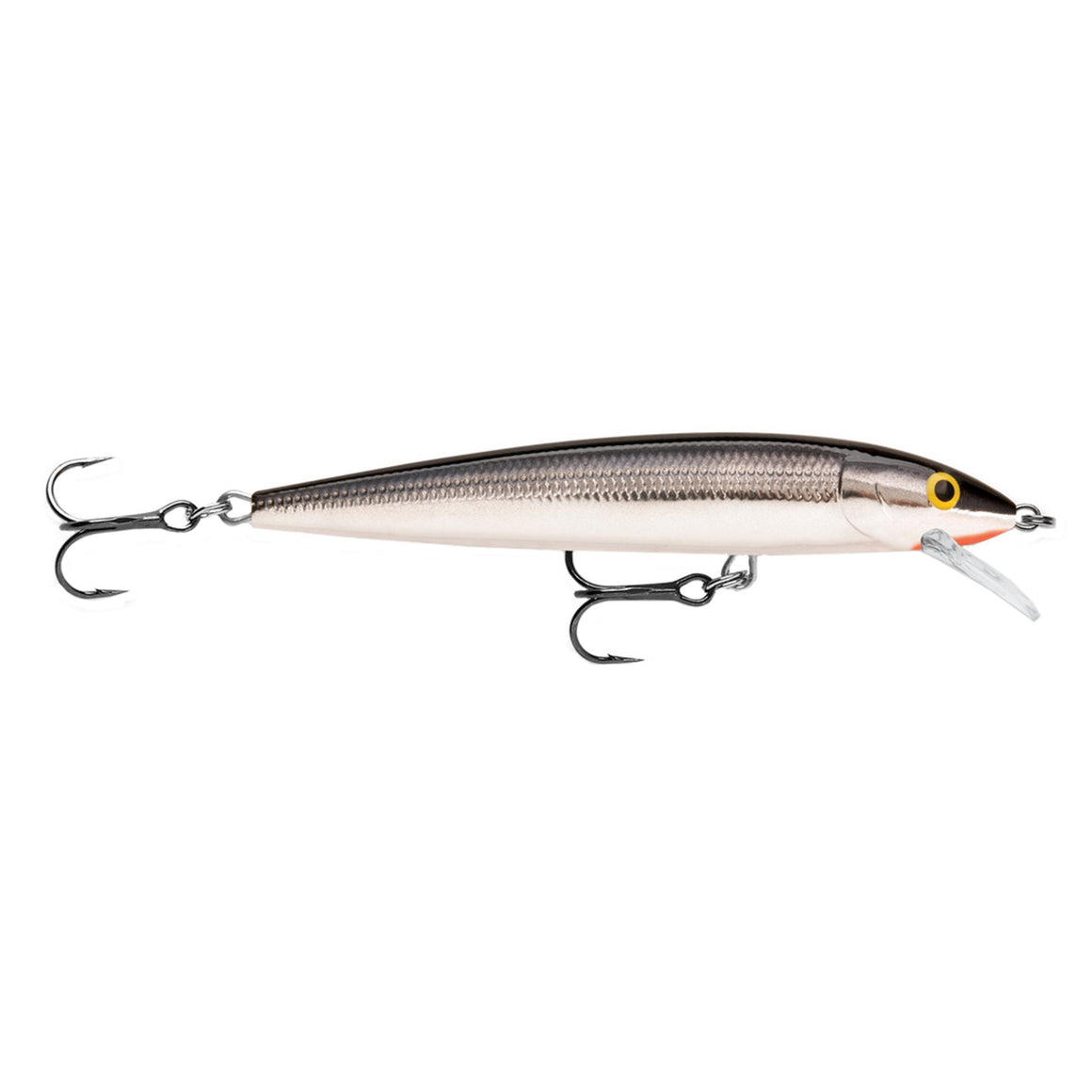 "Rapala Husky Jerk Lure Size 10, 4"" Length, 4'-6' Depth, 2 No 5 Treble Hooks, Silver"