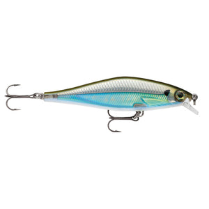 "Rapala Shadow Rap Shad Lure Size 09, 3 1/2"" Length, 3'4' Depth, 2 No 6 Treble Hooks, Moss Back Shiner"