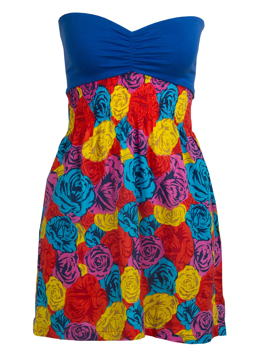Motel Rocks Sophie Dress Density Rose Blue Yellow - LoveClothing.com - 1