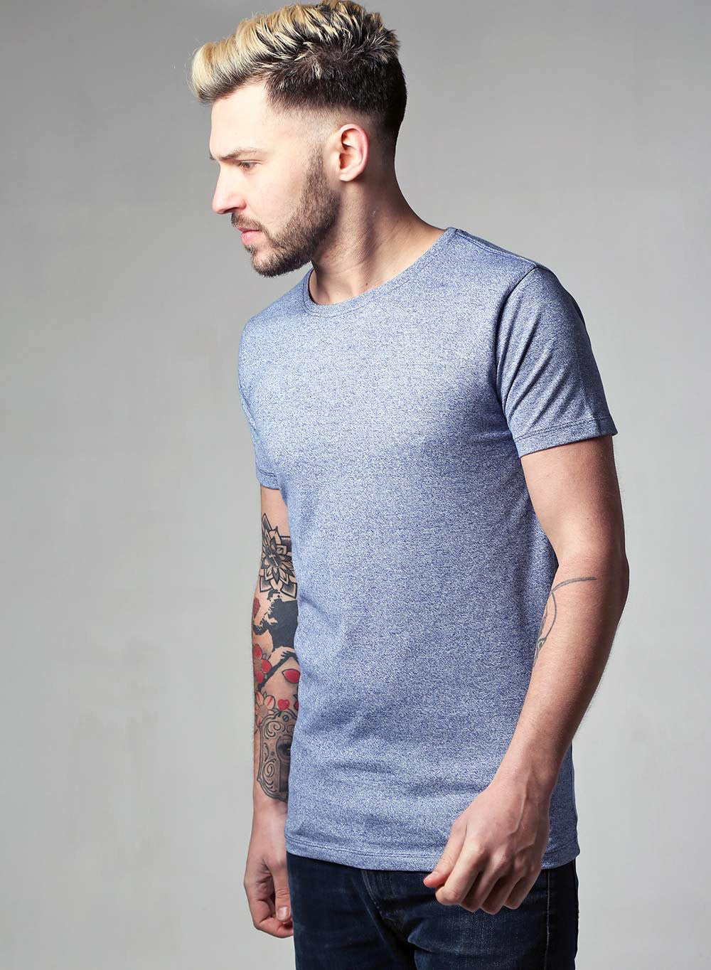 Lindbergh Slim Fit Blue Marl T-shirt - LoveClothing.com - 1