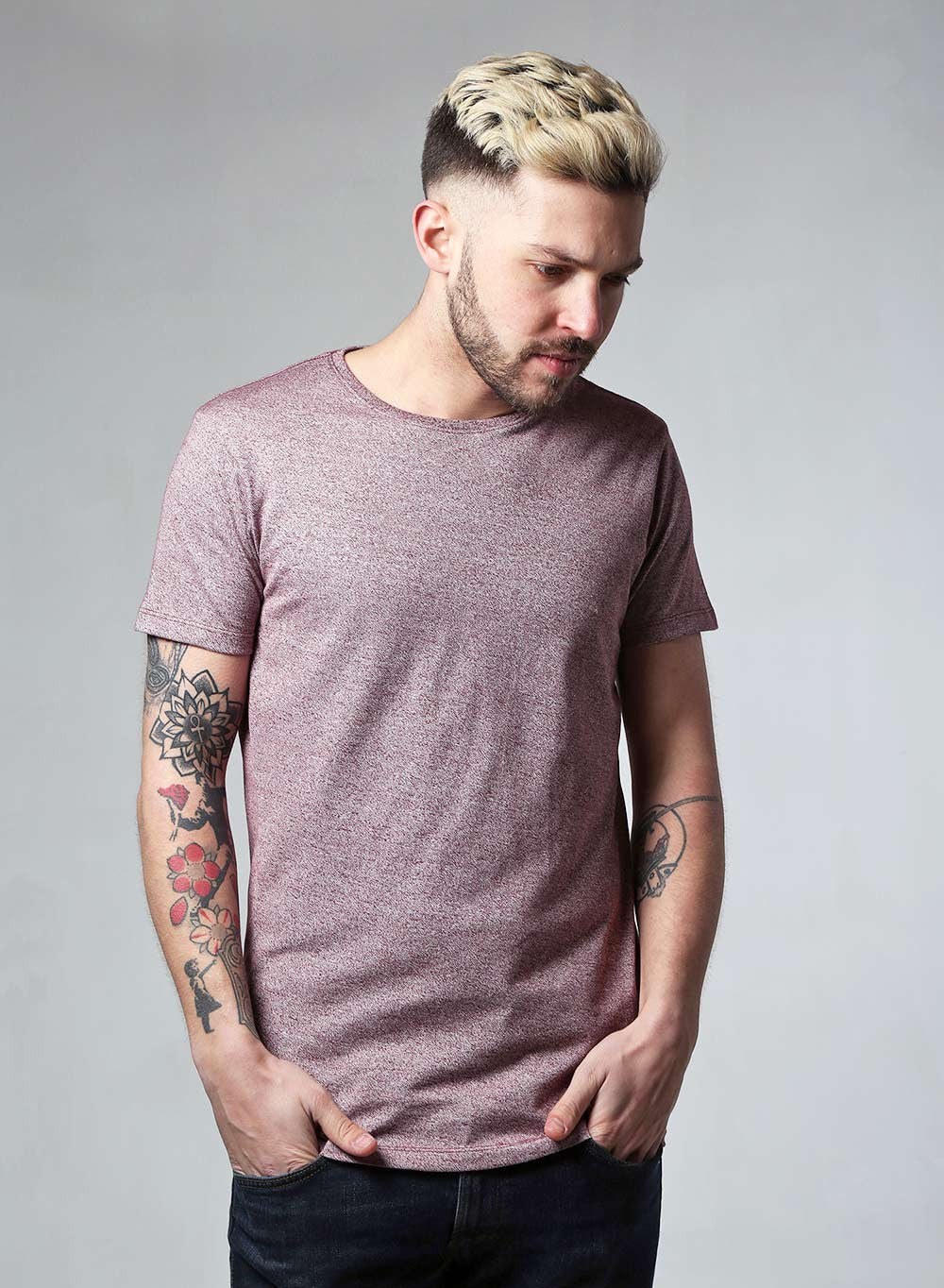 Lindbergh Slim Fit Burgundy Marl T-shirt - LoveClothing.com - 1