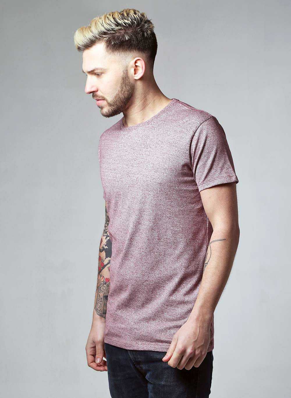 Lindbergh Slim Fit Burgundy Marl T-shirt - LoveClothing.com - 2