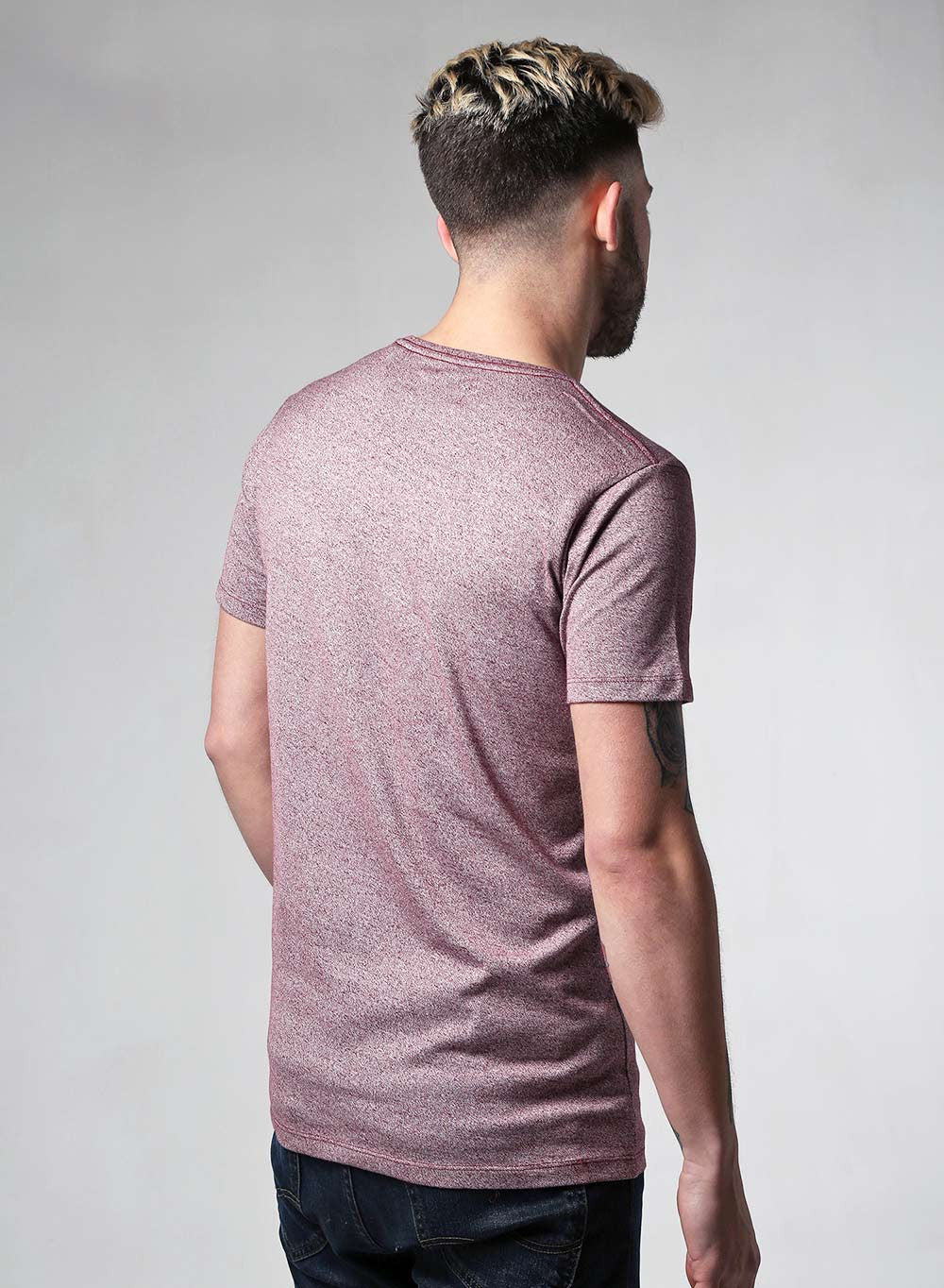 Lindbergh Slim Fit Burgundy Marl T-shirt - LoveClothing.com - 4