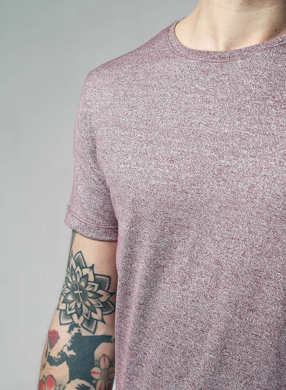 Lindbergh Slim Fit Burgundy Marl T-shirt - LoveClothing.com - 3