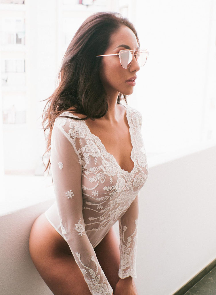 Love White Mesh Lace Bodysuit
