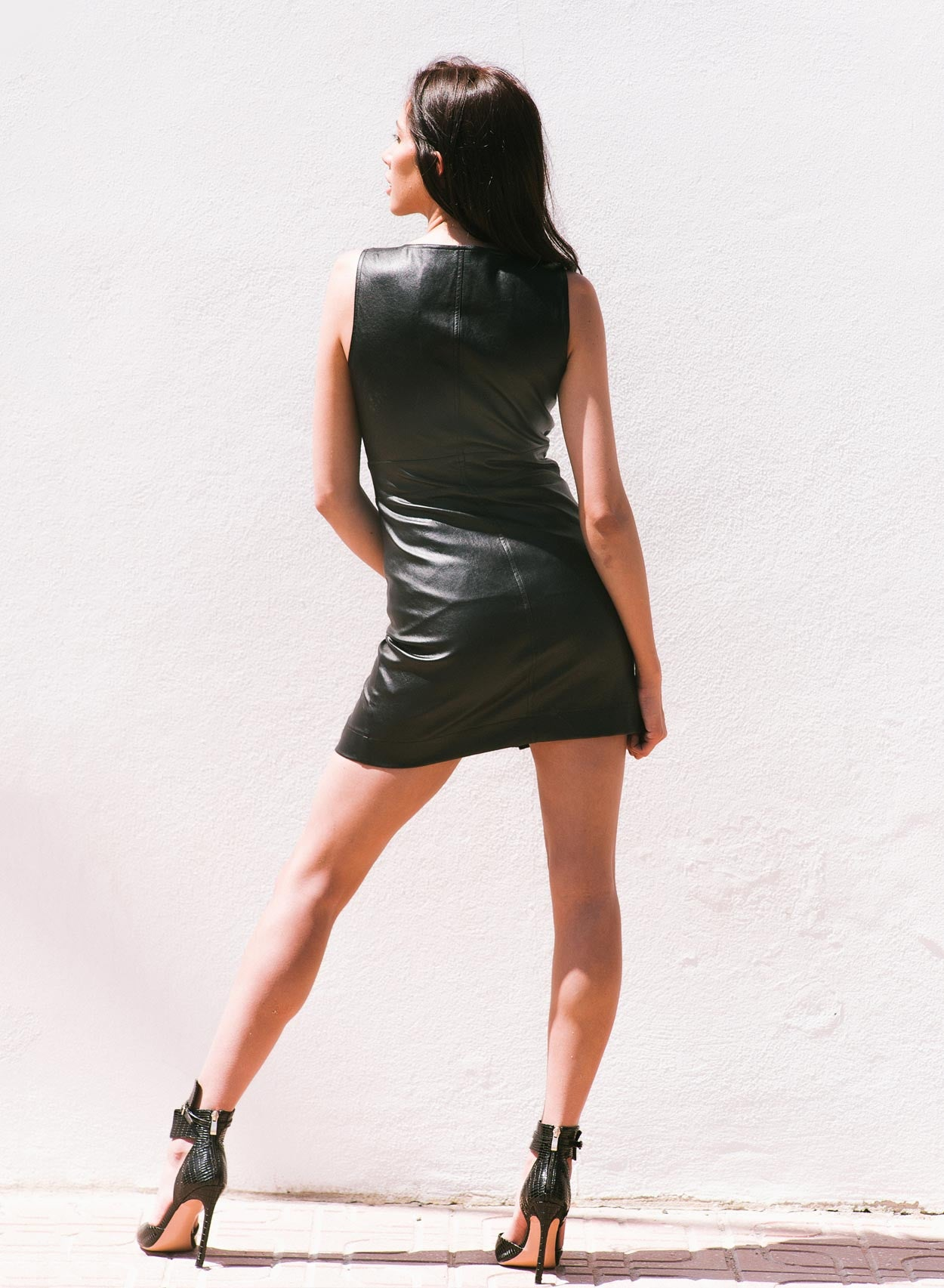 Love Faux Leather Lace Up Dress