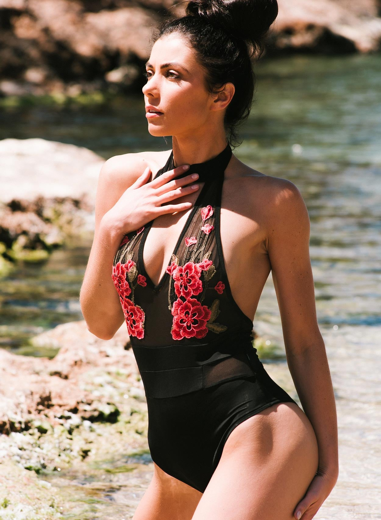 Love Black Mesh Applique Swimsuit