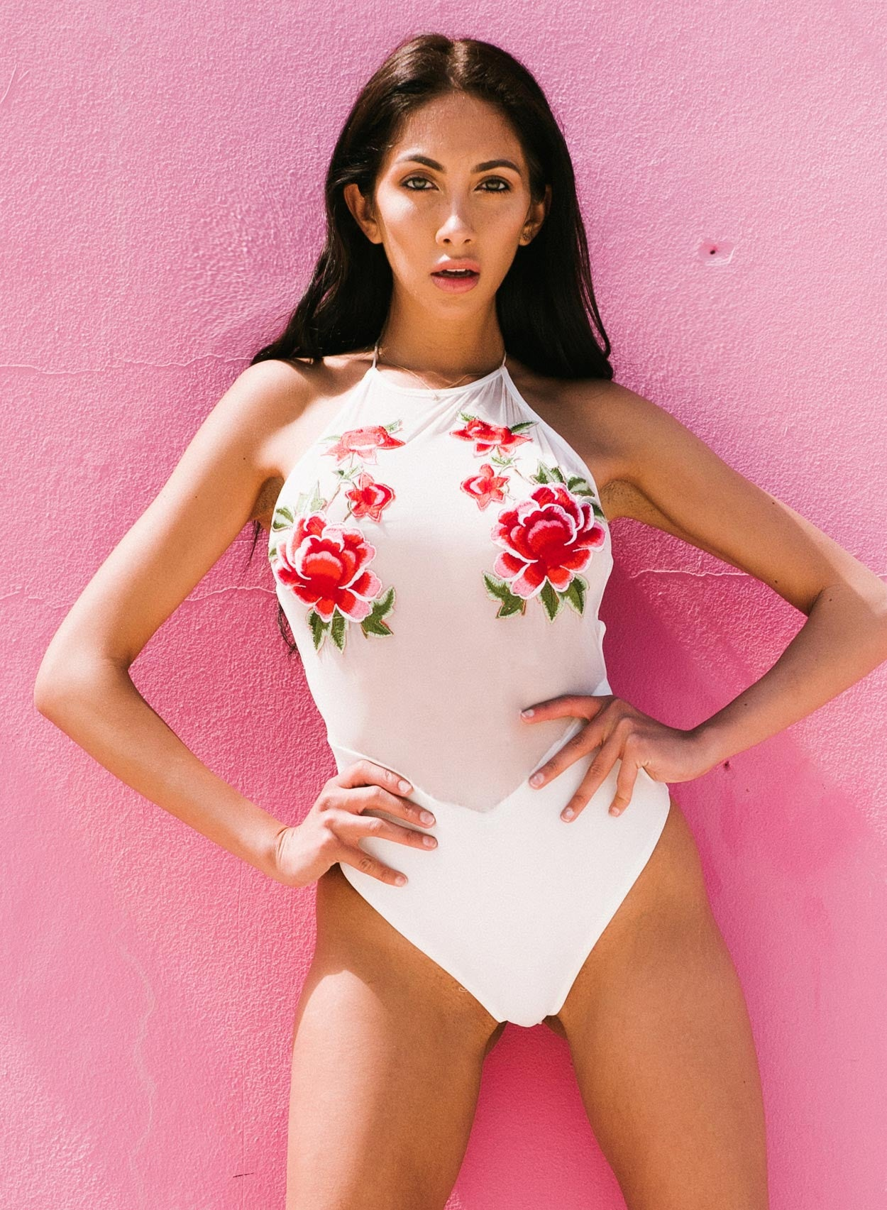 Love White Mesh Strapped Applique Swimsuit