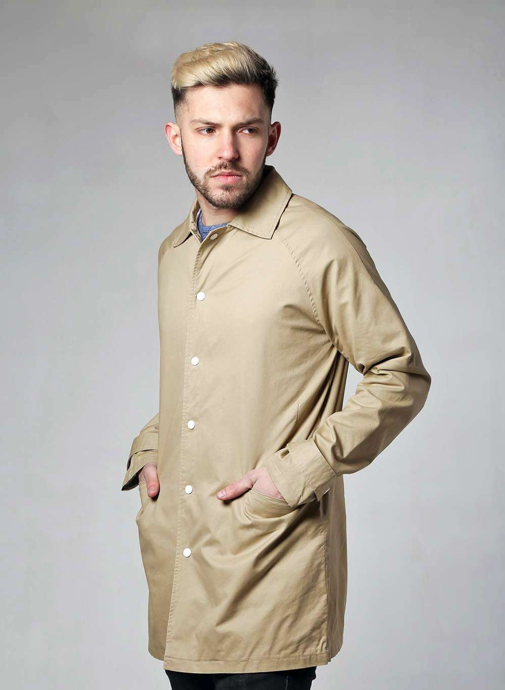 Native Youth Beige Washed Cotton Mac - LoveClothing.com - 1