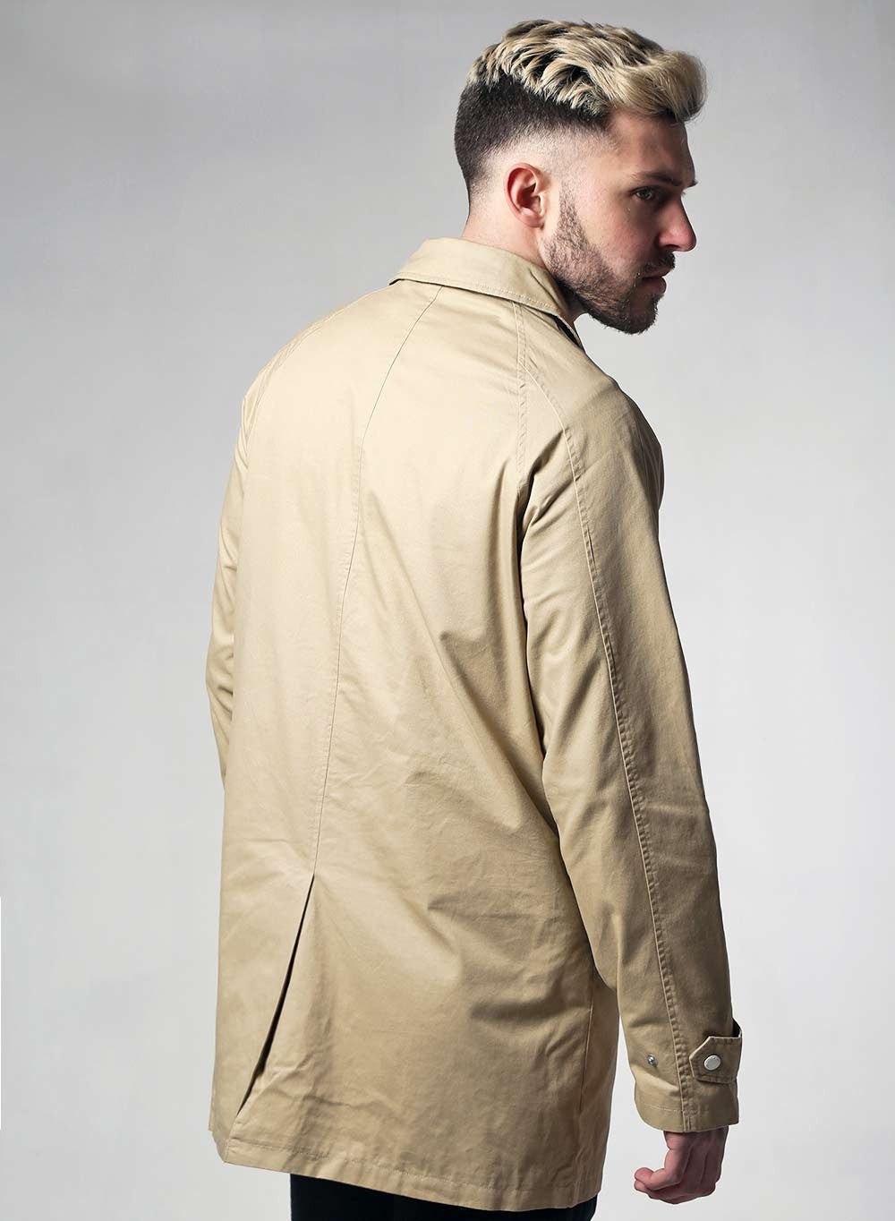 Native Youth Beige Washed Cotton Mac - LoveClothing.com - 2