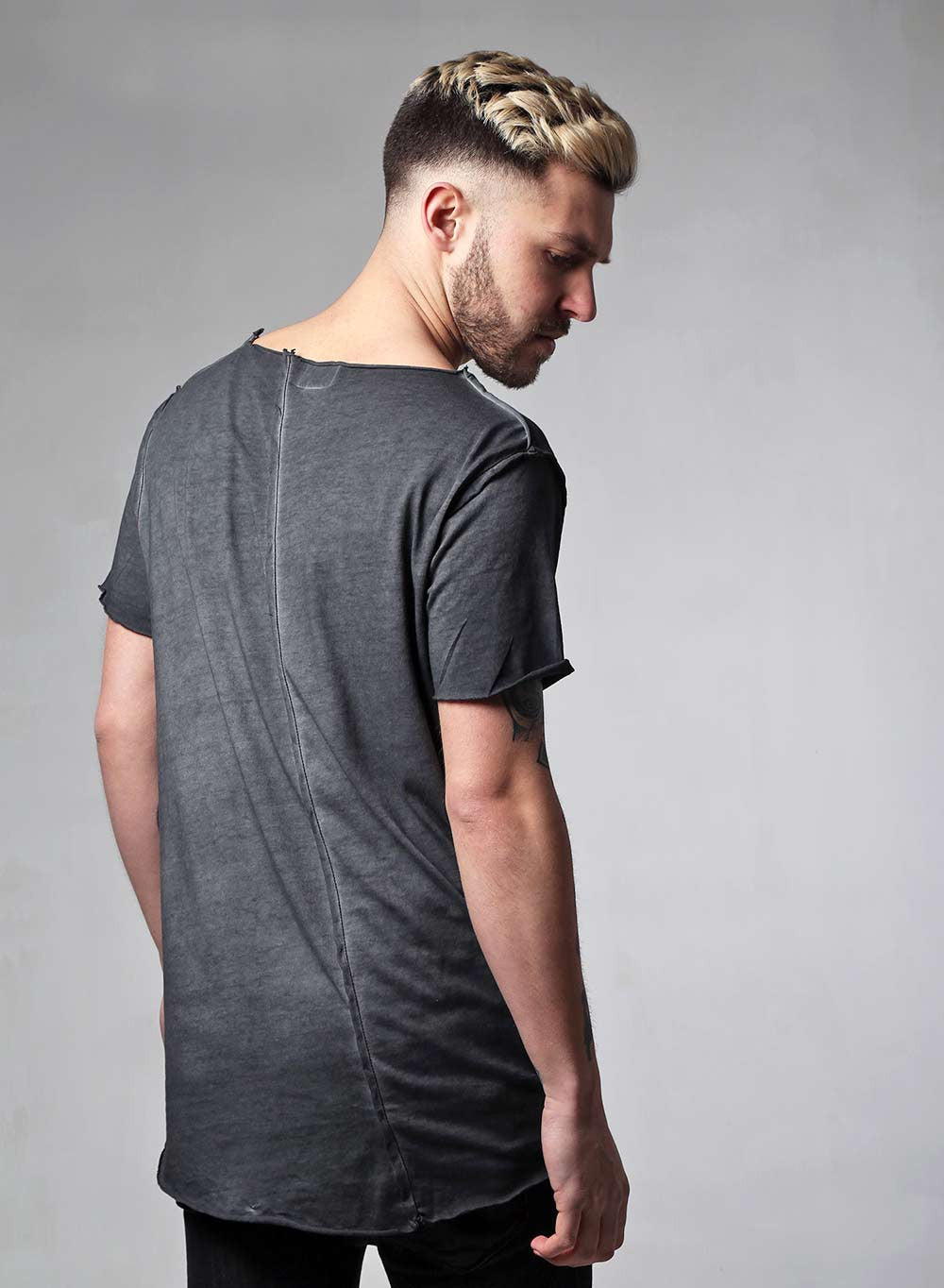 Diagonal Stitch Acid Wash Charcoal T-shirt - LoveClothing.com - 2