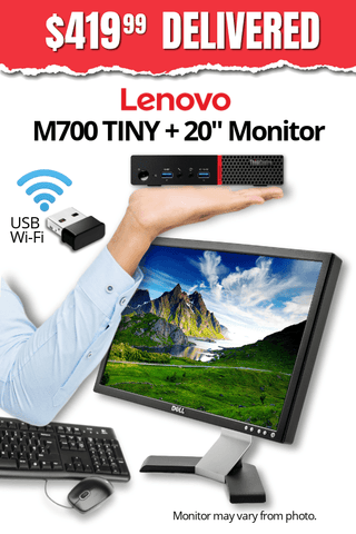 "Lenovo ThinkCentre M700 TINY Desktop + 20"" Major Brand, Flat, LCD Widescreen Monitor • Core i5 6500T 2.5Gz • 480GB SSD • 8GB RAM • Win 10 Professional 64 Bit • FREE SHIPPING • FREE Mouse & Keyboard • $419.99 DELIVERED!"