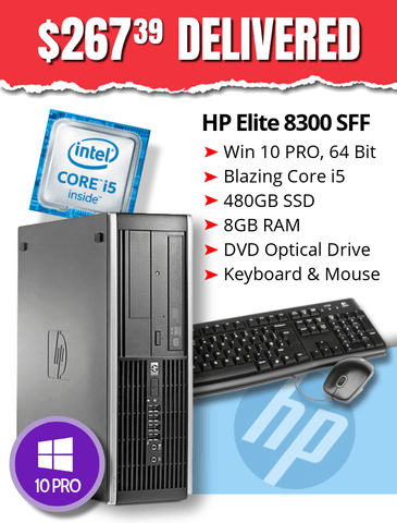 $267.39 DELIVERED • HP Elite 8300 SFF • Core i5-3470 3.2GHz •  BIG & BLAZING 480GB SSD • 8GB RAM • Windows 10 Professional • DVD • Grade B • FREE SHIPPING