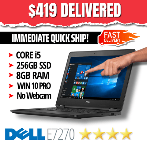 "Dell Latitude E7270 Ultrabook 12.5"" TOUCHSCREEN • 1920 X 1080 • INTEL CORE i5 • 256GB SSD • 8GB RAM • Win 10 Pro 64 Bit • WiFi • HDMI • No Webcam • Grade B • FREE SUPER-FAST SHIPPING"