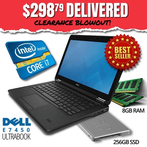 "$298.79 DELIVERED • Dell Latitude E7450 UltraBook CLEARANCE BLOWOUT! 14"" HD Display • BLAZING Intel Core i7 • 256GB Solid State Drive • 8GB RAM • Win 10 Professional • HD Webcam • WiFi • HDMI Ready • Grade B • FREE SHIPPING • $298.79 DELIVERED!"