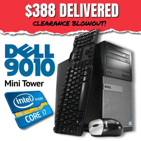 Dell Optiplex 9010 Mini Tower • Intel Core i7 • 480GB SSD • 8GB RAM • WIN 10 Pro 64 Bit • DVD • FREE SHIPPING