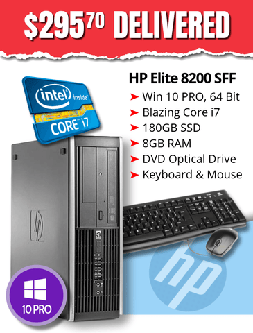 HP Elite 8200 SFF with Blazingly Fast Core i7 Processor • Win 10 Professional 64 Bit • 180GB Solid State Drive • 8GB RAM • DVD • FREE SHIPPING
