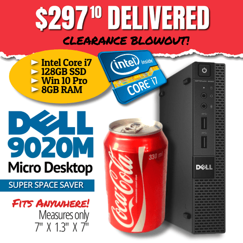 Dell Optiplex 9020M Micro Desktop • Intel CORE i7 4785T 2.2GHz • Windows 10 Professional 64 Bit • 128GB SSD • 8GB RAM • FREE SHIPPING • FITS in the PALM of YOUR HAND!