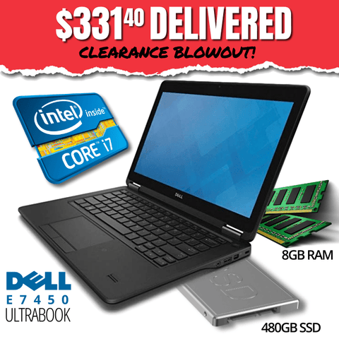 "$331.40 DELIVERED • Dell Latitude E7450 UltraBook CLEARANCE BLOWOUT! 14"" HD Display • BLAZING Intel Core i7 • 480GB Solid State Drive • 8GB RAM • Win 10 Home • HD Webcam • WiFi • HDMI Ready • Grade B • FREE SHIPPING • $331.40 DELIVERED!"