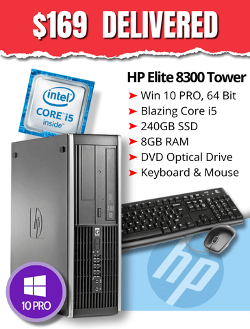 CRAZY $169 DELIVERED • HP Elite 8300 TOWER • Core i5-3470 3.2GHz •  BIG & BLAZING 240GB SSD • 8GB RAM • Windows 10 Professional • DVD • Grade B • FREE SHIPPING • $169 DELIVERED!