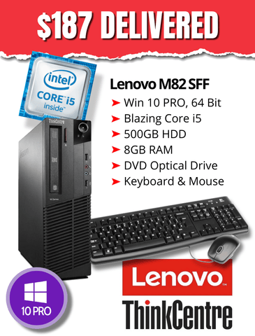 $187 DELIVERED BLOWOUT! Lenovo M82 SFF Desktop • Intel Core i5 3.2GHz • 500GB HDD • 8GB RAM • Win 10 Pro 64 Bit • DVD • FREE Keyboard & Mouse • Grade B • FREE SHIPPING