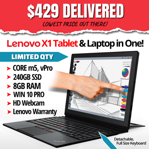 Lenovo ThinkPad X1 Tablet, Grade B • Core m5 VPro • Touchscreen (Stylus Not Included) • Windows 10 Pro 64 Bit • 240GB SSD • 8GB RAM • FREE SHIPPING • $429 DELIVERED • Lowest Price on the Web • Includes Lenovo Warranty