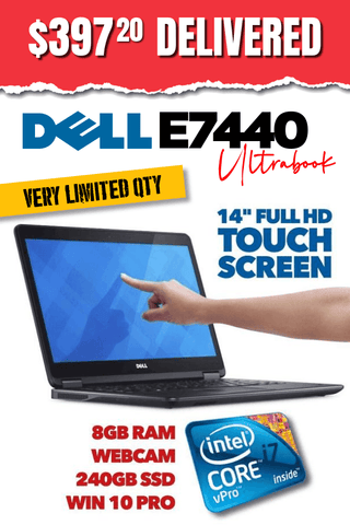"Dell Latitude E7440 Touch Screen Laptop • 14""  FULL HD Display • Intel Core i7 • 240GB SSD • 8GB RAM • Windows 10 Home 64 Bit • Webcam • WiFi • HDMI • Grade B • FREE SHIPPING"