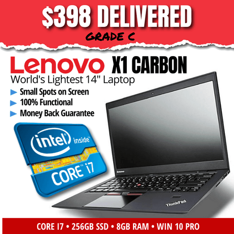 Lenovo ThinkPad X1 Carbon UltraBook • Blazing Core i7 • 256GB SSD • 8GB RAM • Windows 10 Professional • HD Display • HD Webcam • WiFi • Grade C • 100% Functional • Money Back Guarantee • FREE SHIPPING • Compare at $1500 & Up!
