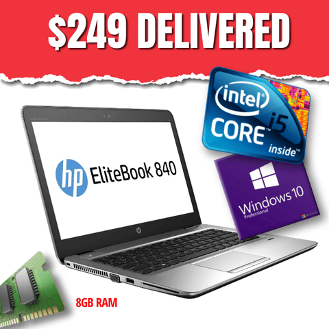 "ONLY $249 DELIVERED Sleek & Light HP 14"" EliteBook 840 G2 • Intel Core i5 • 250GB HDD • 8GB RAM • Win 10 Professional 64 Bit • HD Webcam • WiFi • Grade B • FREE SHIPPING"