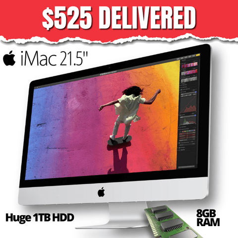 "Apple iMac 21.5"" All-In-One • 2015 • Model A1418 • 1TB HDD • Core i5 • 8GB RAM • Catalina OS • Retina Display • HD Webcam • WiFi • Wired Apple Mouse • Wired Non Apple Keyboard • Grade B • FREE SHIPPING • Compare at Twice the Price!"