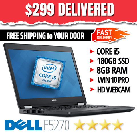 "ONLY $299 DELIVERED • Dell Latitude E5270 • BLAZING Core i5 • 12.5"" LCD • 180GB SSD • 8GB RAM • HD Webcam • Win 10 PRO 64 Bit • WiFi"