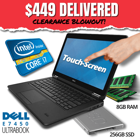 "Dell Latitude E7450 Touch-Screen UltraBook CLEARANCE BLOWOUT! 14"" HD Display • BLAZING Intel Core i7 • 256GB Solid State Drive • 8GB RAM • Win 10 Professional • HD Webcam • WiFi • HDMI Ready • Grade B • FREE SHIPPING"