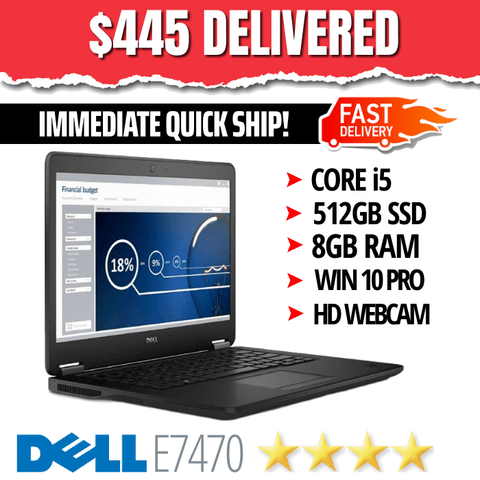 "Dell Latitude E7470 UltraBook  • 14"" HD Display, 1366 X 768 • BLAZING Intel Core i5 • 512GB SSD • 8GB RAM • Win 10 Professional • HD Webcam • WiFi • HDMI Ready • Grade B • FREE SUPER-FAST SHIPPING"