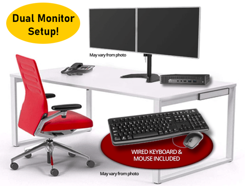 "HP EliteDesk 800 G2 Mini Desktop • Two 20"" Famous Maker LCD Monitors • WALI Free Standing Dual LCD Monitor Fully Adjustable Desk Mount • Quad Core i5 •  512GB SSD • 8GB RAM •  Windows 10 Pro 64 Bit"