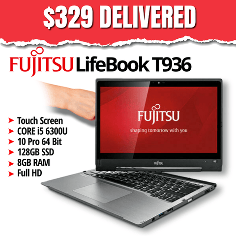 "Fujitsu LifeBook T936 Laptop/Tablet • Core i5 6300U • 13.3"" Touchscreen • 1920x1080 FHD • Win 10 Pro 64 Bit • 128GB SSD • 8GB RAM • Grade B • No Stylus • FREE SHIPPING • $329 DELIVERED • Lowest Price on the Web • Money Back Guarantee"