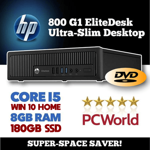 INCREDIBLE $239 DELIVERED HP 800 G1 EliteDesk Ultra Slim • CORE i5, 2.9GHz • WIN 10 HOME 64 Bit • 180GB SSD • 8GB RAM • FREE SHIPPING