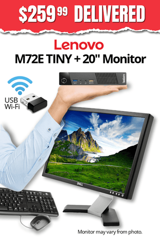 "Lenovo ThinkCentre M72E TINY Desktop + 20"" Major Brand, Flat, LCD Widescreen Monitor • Core i3 2.8Gz • 500GB HDD • 8GB RAM • Win 10 Pro 64 Bit • USB WiFi Adapter • FREE SHIPPING • FREE Mouse & Keyboard • $259.99 DELIVERED!"