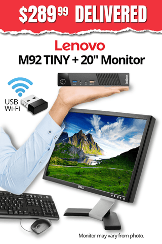 "Lenovo ThinkCentre M92 TINY Desktop + 20"" Major Brand, Flat, LCD Widescreen Monitor • Core i5 2.9Gz • 128GB SSD • 8GB RAM • Win 10 Professional 64 Bit • FREE SHIPPING • FREE Mouse & Keyboard • $289.99 DELIVERED!"
