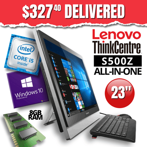 $327.40 DELIVERED  Lenovo ThinkCentre S500Z All-In-One Desktop • Intel Core i5 • 500GB SATA • 8GB RAM • Win 10 Professional 64 Bit • HD Webcam • WiFi • DVDRW • Grade B • FREE SHIPPING