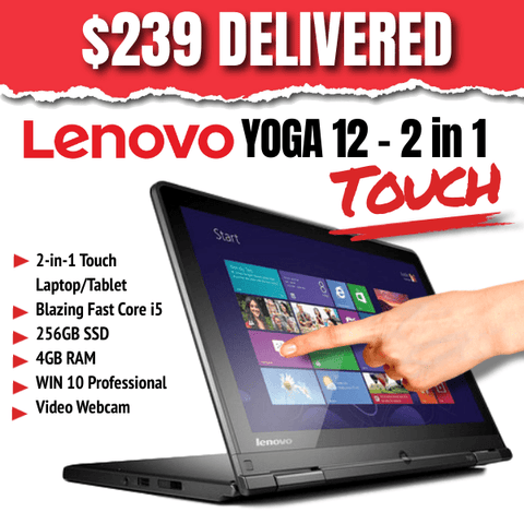 Lenovo Touch Screen Yoga 12 - 2-in-1 Laptop/Tablet • 256GB SSD • 4GB RAM • Win 10 PRO • Video Webcam • Grade B • No Stylus • Lowest Price on the Web • FREE SHIPPING