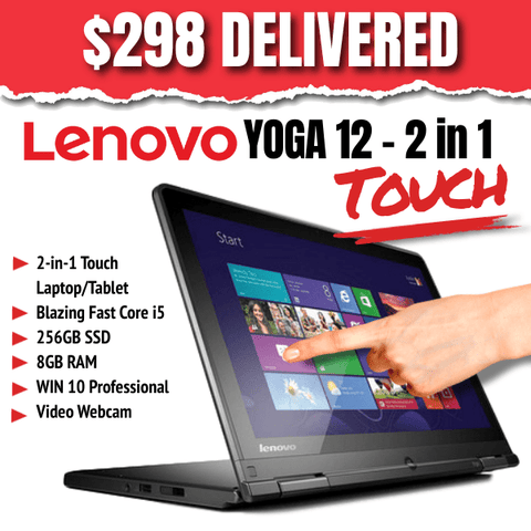 Lenovo Touch Screen Yoga 12 - 2-in-1 Laptop/Tablet • 256GB SSD • 8GB RAM • Win 10 PRO • Video Webcam • Grade B • No Stylus • Lowest Price on the Web • FREE SHIPPING