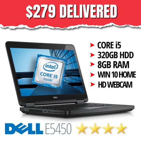 $279 DELIVERED • Dell Latitude E5450 • Intel Core i5 • 320GB HDD • 8GB RAM • Grade B • Win 10 Home, 64 Bit • HD Webcam • FREE SHIPPING