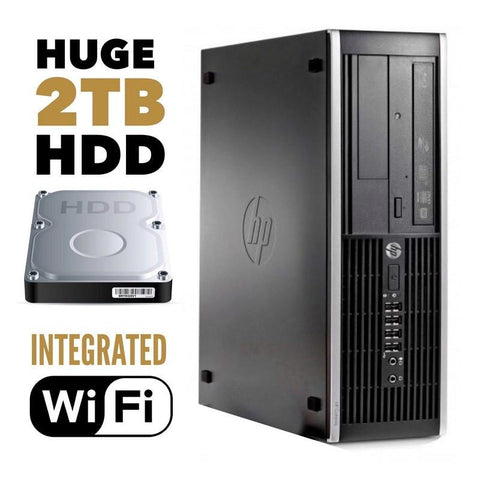 HP Desktops $249 HP Elite 8300 SFF • Core i3 • 2TB Hard Drive • 4GB RAM • Windows 10 Home 64 Bit • Integrated WiFi • DVD