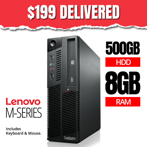$199 Lenovo M-Series Desktop • Intel Core i5 • 500GB HDD • 8GB RAM • Win 10 Home 64 Bit • DVDRW • FREE SHIPPING • FREE Keyboard & Mouse • $199 DELIVERED!