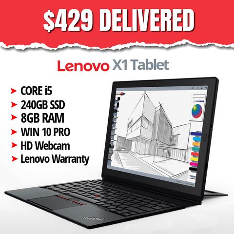 Lenovo ThinkPad X1 Tablet, Grade B • Core i5 • Touchscreen • Windows 10 Pro 64 Bit • 240GB SSD • 8GB RAM • FREE SHIPPING • $429 DELIVERED • Lowest Price on the Web • Includes Lenovo Warranty